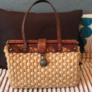 Brighten straw and Leather satchel